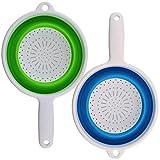 BESLIME - Colador plegable con 2 asas alargadas, para escurrir pasta y verduras (verde, azul)