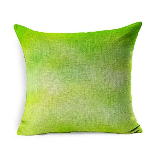 Lino copriletto copriletto quadrato vernice verde verde lime verde acqua colore schizzi acquerello limone zen astratto fresco albero vuoto federa decorazioni per la casa federa 18x18 pollici