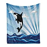 Lunarable Whale Soft Flannel Fleece Throw Blanket, Orca Killer Whale Jumping High to The Clouds Wild Animal Art Illustration, Cozy Plush for Indoor and Outdoor Use, 70' x 90', White Black
