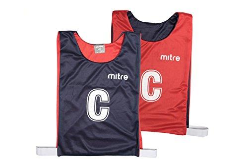 Mitre Netball, Peto reversible de entrenamiento profesional, Multicolor (Navy/Red), Medium, Pack de 7