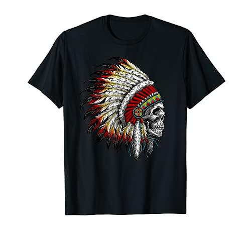 Native American Indian Chief Skull Motorcycle Headdress T-Shirt