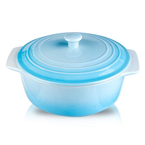 Joyroom Porcelain Covered Round Casserole Dish, Lasagna Pan with Lid for Dinner, Kitchen, 9 inch Round Baking Dishes for Oven with Lids, Banded Collection (Gradient Baby Blue)