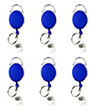 Gocomcom Honbay 6 Pieces of Premium Retractable Carabiner Badge Holder Reels with Key Ring and Badge Strap, Clip On Retractable ID Card Keychain - with Back Splint (Blue)