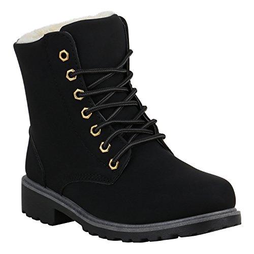Unisex Damen Herren Warm Gefütterte Damen Worker Boots Stiefeletten Outdoor Schuhe 129285 Schwarz...
