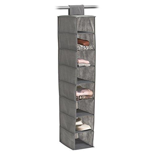 Zeller 14614 Hänge-Aufbewahrung, 8 Fächer, Vlies, ca. 18 x 30 x 105 cm, grau, Stoff
