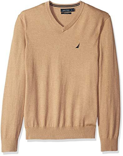 NAUTICA Men's Long Sleeve Solid Classic V-Neck Sweater, Coastal Camel Heather, X-Large