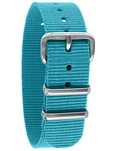 Pacific Time First Wechsel Armband Durchzugsband Uhrenarmband Ersatz Band Textil Dornschließe Sport hellblau 10038