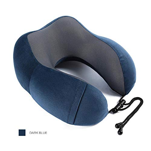 SGAHE Almohada de Viaje de Espuma de Memoria Almohada para Cuello Cabeza en Forma de U Soft Head Car Flight Office Rest Support Airplane Travel Pillow, Azul Oscuro