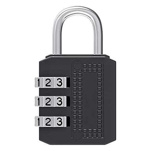 HDHUIXS Candado con combinación de 3 dígitos - Lock de combinación a Prueba de Intemperie Exteriores - Combo reiniciable sin Llave - para Equipaje, Viajes, Puerta, Escuela, Caja de Herramientas