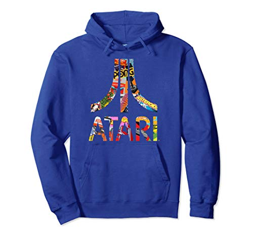 Official Atari Montage Logo Blue Hoodie, Unisex Adults 3 Colors Available, S to 2XL
