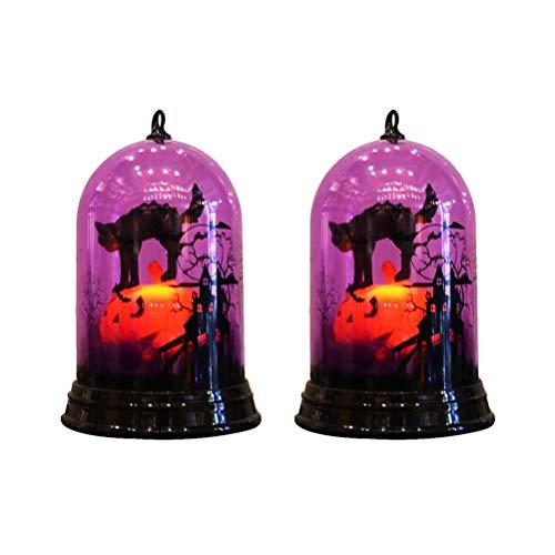 UKCOCO Iluminación de Halloween Lámpara con diseño de Gato de Halloween de 2 Piezas, lámpara Que Cambia de Color, Funciona con Pilas, lámpara de Noche de Escritorio, Adornos Decorativos (sin Pilas)