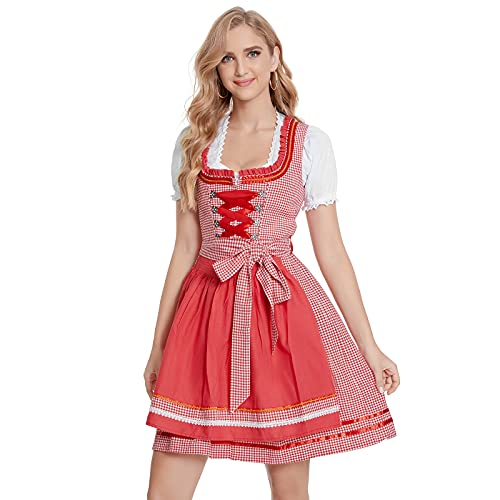 Adisputent Trachtenkleid Damen Trachtenmode Damen Dirndl Dirndlkleid Midikleider Bayerische Traiditionelle Trachtenkelid für Oktorberfest...