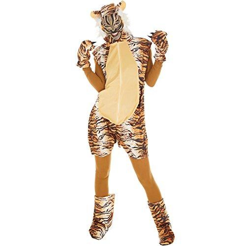 dressforfun Kostüm Tiger für Sie und Ihn | Aus weichem Fellimitat | Ärmellos und vorne mit praktischem Reißverschluss | inkl. warmen Handschuhen, Beinstulpen und Ganzkörperstrumpfhose (M | Nr. 300863)