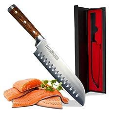Zolmer® Professional Santoku Knife gemaakt van Duits carbon roestvrij staal en pakkawood – Roestvrij sushimes met antiaanbaklaag – Japans keukenmes*