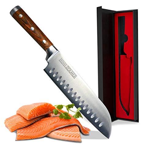 Zolmer® Profi Santokumesser aus deutschem Carbon Edelstahl und Pakkaholz - Rostfreies Sushi Messer mit Antihaftbeschichtung - Japanisches Küchenmesser
