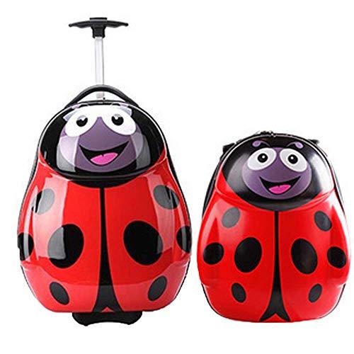 JMFHCD Maleta De Niños Conjunto Animales Rolling ABS+PC Equipaje De Spinner Bolsas De Viaje Cabina Cartoon Trolley Case 13 Y 17 Pulgadas,Ladybug