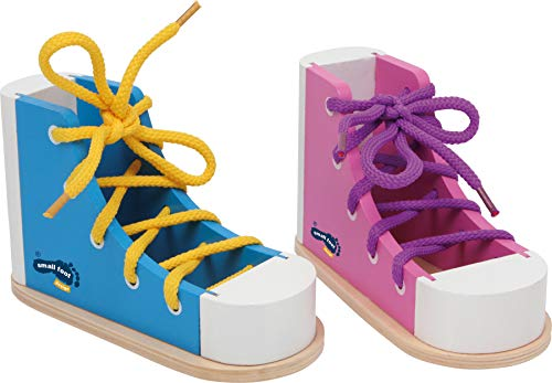 Small Foot Wooden Toys Colorful Threading Shoes Eductional Set of 2 Shoes & Laces Designed for Children Ages 3+ Years