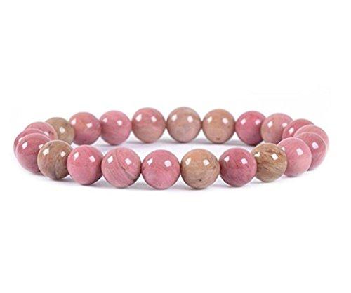 Natural Pink Rhodonite Gemstone Bracelet 7 inch Stretchy Chakra Gems Stones Healing Crystal (Unisex) GB8-5