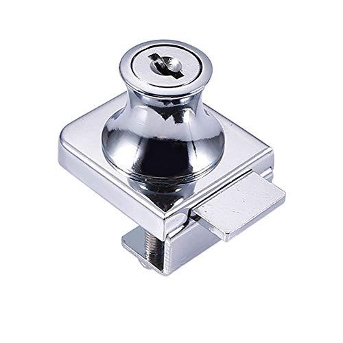 chiavistello,serrature per porte,Serratura per porta in vetro per vetrinetta,lega di zinco blocco di vetro vetrina vetrina serrature per 5-8 mm vetro porta senza trapano con 2 chiavi