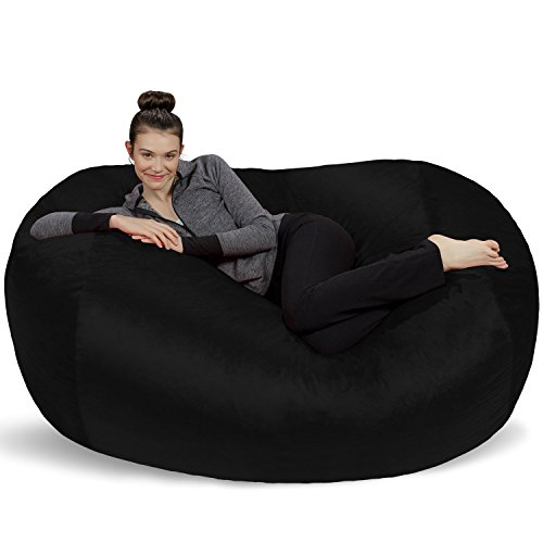 Sofa Sack - Plush Bean Bag Sofas with Super Soft Microsuede Cover - XL Memory Foam Stuffed Lounger Chairs for Kids, Adults, Couples - Jumbo Bean Bag Chair Furniture - Black 6'