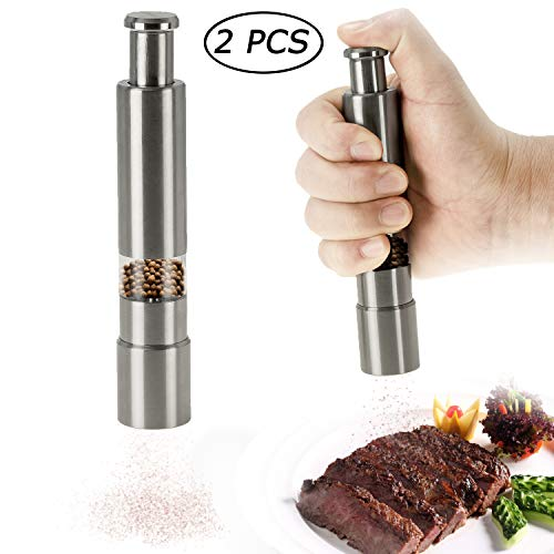 Star Brand Salt and Pepper Grinder set of 2 | Stainless Steel Thumb Push Button Grinder for Black Pepper, Sea Salt and Himalayan Salt, Spice and Salt, Herb and flavoring | Salt and Pepper Shaker, Spic
