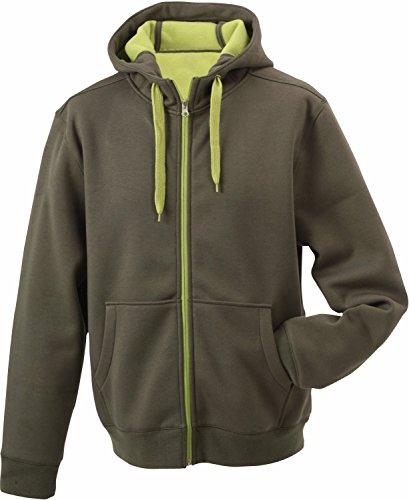 JN355 Men´s Doubleface Jacke Sweatjacke Kapuze Sweatshirt, Farbe:Olive-Lime (Light) Green;Herrengrößen:L