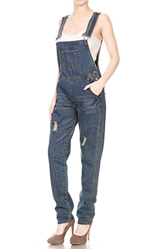 Women's Distressed Denim Overalls with Tapered Leg and Pockets 5