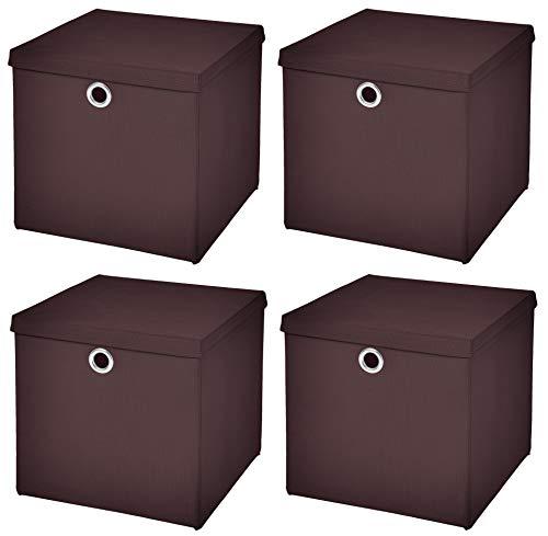 Stick&Shine 4X Aufbewahrungs Korb Braun Faltbox 33 x 33 x 33 cm Regalkorb faltbar mit Deckel