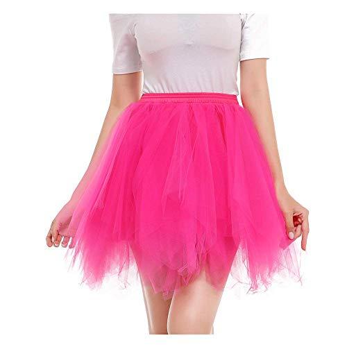 WOZOW Damenrock Tulle Einfarbig Kurz Tutu Unregelmäßiger Saum Multi-Schichten Tanzkleid Unterkleid Crinoline Petticoat Karneval Kostüm Frauen (XL =EU:40-52,heißes Rosa)