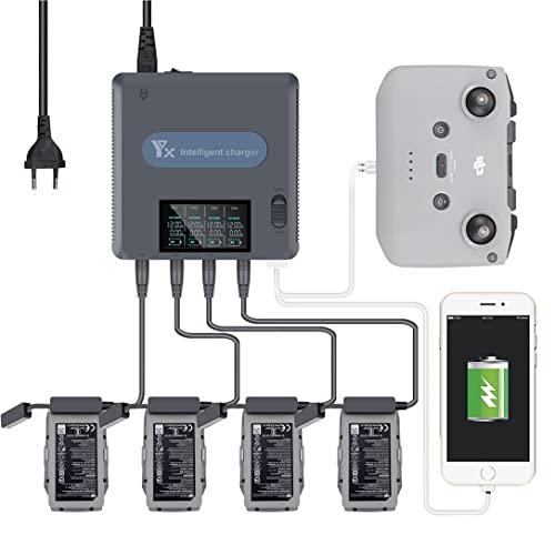 6-in-1 Multi Caricabatterie, LED Digitale Display Caricabatterie compatibile per DJI Mavic AIR 2/ AIR 2S Drone e controllore Carica Accessori