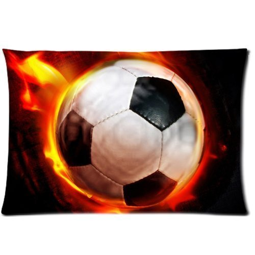 Ball Football burning on Fire Zippered Pillow Cases Cover 20x30 Inch