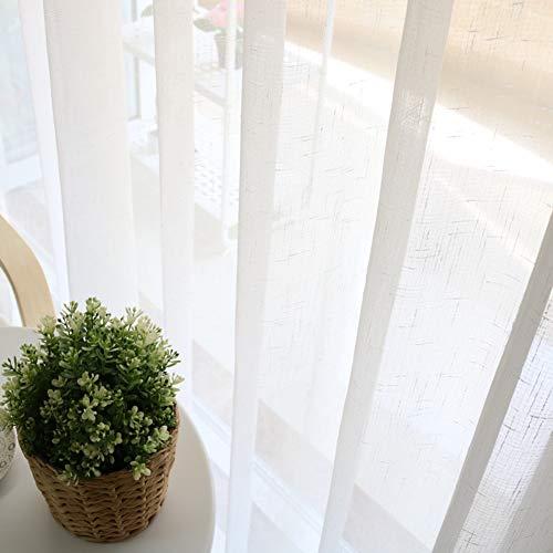 WJXBoos Ropa De Imitación Cortinas De Ventana,Aislamiento Térmico Translúcida Diseño Simplista Tulle Visillos para Cafetería Estudio Comedor Blanco 350 * 270cm(138 * 106inch)