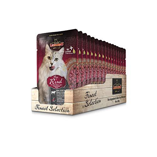 Leonardo Frischebeutel [16x85g Rind pur] | Getreidefreies Nassfutter für Katzen | Feuchtfutter Alleinfutter im Einzelportionsbeutel