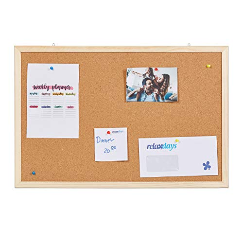 Relaxdays Prikbord van kurk, kurkbord voor kantoor, priknaalden, flexibel ophangen, kurkwand met frame, 40 x 60 cm, naturel