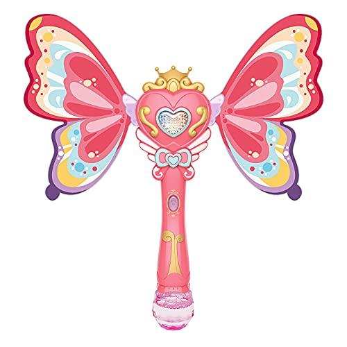 Máquina de burbujas MagicWand con música y luz para niñas y niños, portátil, para hacer burbujas en interiores y exteriores
