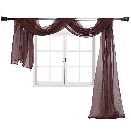 """Imperium Comfort Window Scarf 54"""" W x 144"""" Long Solid Sheer Curtain Voile Scarf Swag Drapes Valance for Window, Bedroom, Living Room, Kitchen (1 Scarf: 54W Inch x 144L Inch, Chocolate)"""