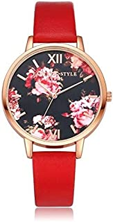 Elegant Watches for Women Fashion Luxury Lady Watch P086Leather Strap Flower Dial Quartz Wrist Watch Female Belt Watch (Color : Red+Rose Gold)