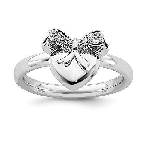 Plata de ley con forma de corazón con arco expresiones apilables anillo de diamantes en bruto - tamaño N 1/2 - JewelryWeb