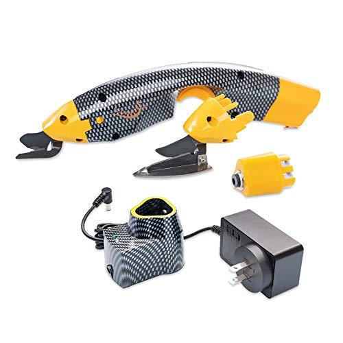 Loboo Idea EC-01 - Tijeras eléctricas de alimentación inalámbricas con dos cabezales de corte y una batería extra para manualidades, papel de tela y álbumes de recortes