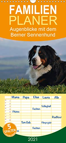 Augenblicke mit dem Berner Sennenhund - Familienplaner hoch (Wandkalender 2021, 21 cm x 45 cm, hoch)