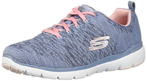 Skechers Flex Appeal 3.0, Scarpe da Ginnastica Donna, Grigio (Slate & Pink Knit Mesh/White Trim Sltp), 36 EU