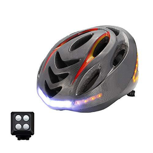 GWJ Smart Bike Helmet con Manubrio per Segnale di Svolta Wireless Telecomando, Impermeabile Ip55, Ricarica USB Anteriore,Fino A 6 Ore Durata della Batteria - Casco da Ciclismo Certificato CPSC E CE