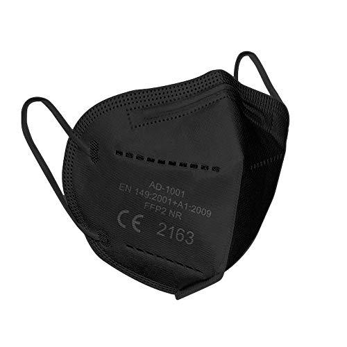 Lexuslance - 20 schwarze Lünetten FFP2 CE Europäische Zertifizierung EN149: 2001 + A1: 2009 EU 2016/42. Mode, Schönheit und Sicherheit koexistieren. (4 versiegelte Beutel mit 5 Masken)