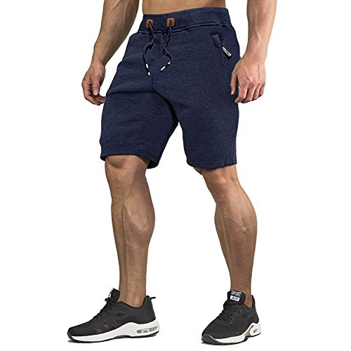 CRYSULLY Men Fitted Shorts Bodybuilding Workout Lifting Performance Shorts Elastic Waist Blue