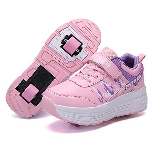 CHARMSTEP Unisex Kinder Rollschuh Schuhe Einstellbare Räder Technologie Skateboardschuhe Gymnastik Running Turnschuhe mit Rollen für Jungen Mädchen,Pink2,33EU