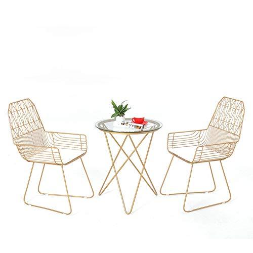 Président Chaise Nordique métal Creux Table de Loisirs et Chaise Fer Art Net Boutique de thé Rouge Boutique de Boissons Table Basse Chaise extérieure (Design : B)