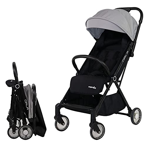 Nania Orla Automatic Folding Stroller - Ultra-Compact - 1 Hand - Suitable from Birth to 15 kg (Grey)
