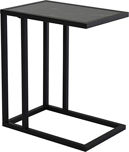 HOMCOM C Shape Side Table Marble-Effect Top w/Metal Frame Space-Saving Home Furniture Bedroom Living Room Office Corner Desk Black White