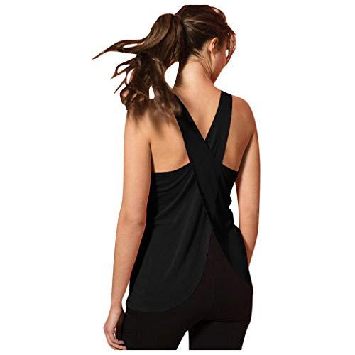 Sensail- Femmes Débardeur de Sport Casual Cross Back Yoga Shirt sans Manches Back Workout Sports Vest Top