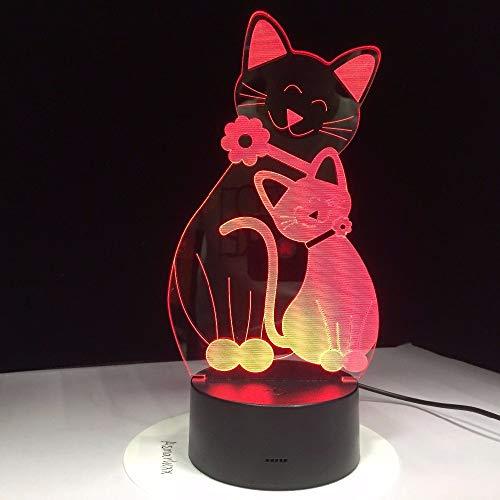 Dtcrzjxh Mignon Flh Cat Lampe 7 Couleurs Changeante Ambiance Lumière 3D Kitty Mood Touch Lampe Décor À La Maison Enfants Cadeaux